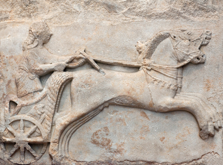 Ancient marble Bas relief of a Charioteer of Archaic period, late 6th century BC, from Cyzicus (Erdek), Turkey