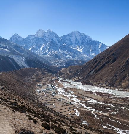Pangboche village on the way to Everest base camp, Khumbu, Sagarmatha National Park, Nepal Himalaya