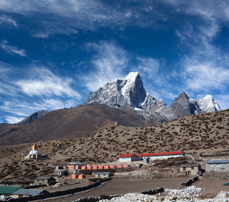 Dingboche village on the way to Everest base camp, Khumbu, Sagarmatha National Park, Nepal Himalaya Stock Photo