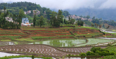 Panoramic view of Village of hani people over terraced rice fields in Yuanyang, Yunnan Province of China