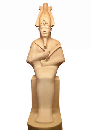 Statue of Osiris isolated on white. He was son of Ra, lord of the dead and rebirth, god of fertility, agriculture, afterlife in ancient Egypt. Foto de archivo