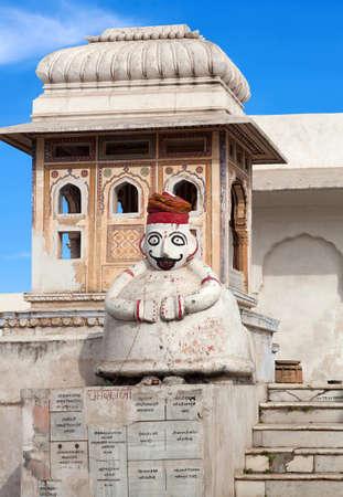 Exterior detail of ancient Hindu temple in Pushkar, Rajasthan, India Banque d'images