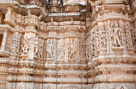 Exterior of famous Neminath Jain temple in Ranakpur near Udaipur, Rajasthan state of India