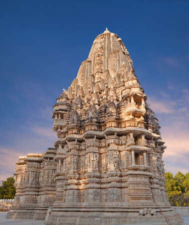 Exterior of famous Neminath Jain temple in Ranakpur, Rajasthan state of India