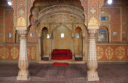 BIKANER, INDIA - JANUARY 13, 2019: View of the Private Audience Hall in Anup Mahal at at Junagarh fort in Rajasthan state