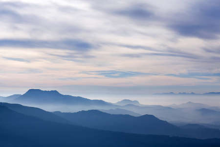 Western Ghat range of mountain at sunset from Lockhart Gap road view point in Munnar, Kerala state, South India