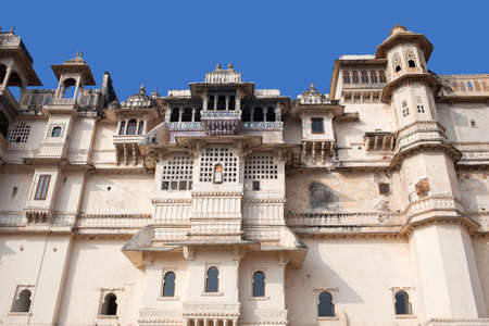 Exterior of famous ancient City Palace in Udaipur, Rajasthan state, India. It was built over a period of nearly 400 years, with contributions from several rulers of the Mewar dynasty.