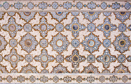 Ceiling decoration of Sheesh Mahal palace (Hall of Mirrors), also called Jai Mandir, in Amber Fort, Rajasthan state, India Reklamní fotografie