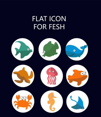 flat: Flat sea creatures Illustration