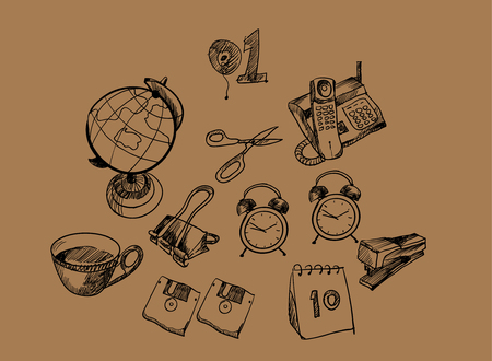 staplers: Hand-drawn supplies Illustration