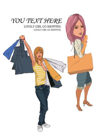 illustrators: Shopping girl