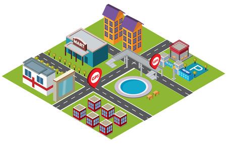 footbridge: Isometric illustration - community life