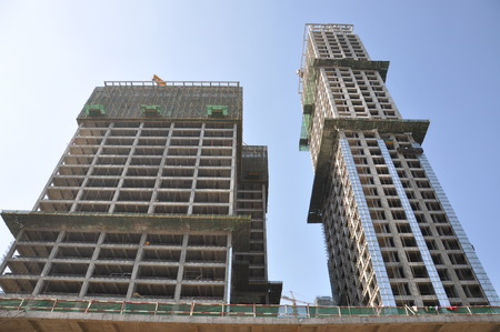 high angles: Buildings at the city of Chengdu