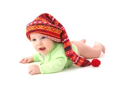 a little baby in a large red hut, isolated on white