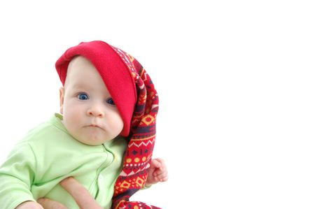 a little baby in a large red hut portrait isolated on white Stock Photo - 2513985