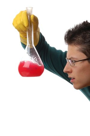 Man Investigates liquid isolated on white background