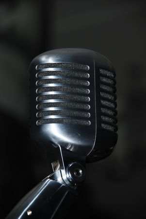 single microphone in the darkness Stock Photo - 2514037