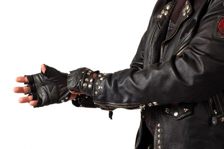 mans torso dreesed in black leather with metall, isolated on white