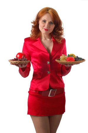 woman in red with lot's of food, isolated on white