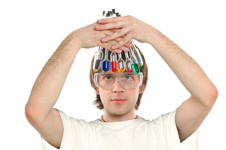 young scientist holding glass retorts with colored liquids, white background