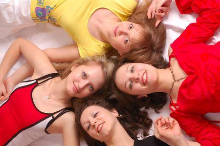 Four girls friends have fun photo
