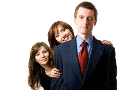 Team of three business people. Isolated on white background photo