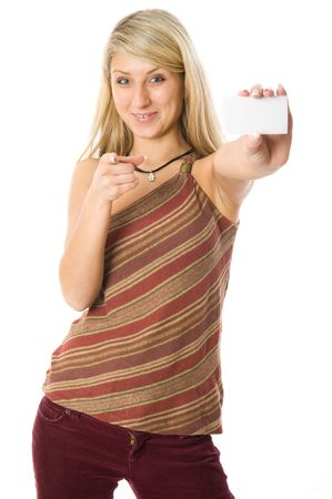 Portrait of a beautiful blonde girl holding a white card. Isolated on white background photo