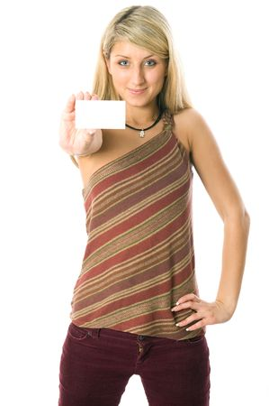 Portrait of a beautiful girl holding a white card. Isolated on white background Stock Photo - 3855382