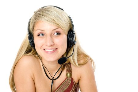 Beautiful business woman with headset. Isolated over white background Stock Photo - 3279165