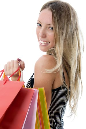Close-up of happy young woman on a shopping spree. Isolated on white background Stock Photo - 3279185