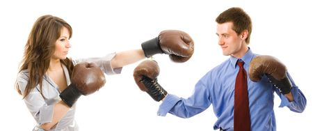 business fight isolated on white background Stock Photo
