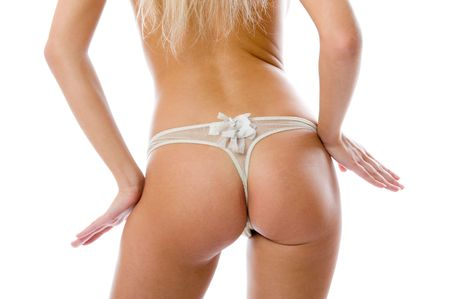 The naked part of a female body on a white background Stock Photo