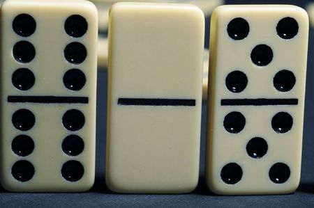 Close up of group dominoes. Business concept