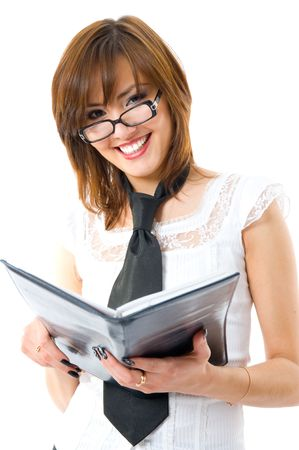 charmingly: The financial report. Young Japanese woman charmingly smiles