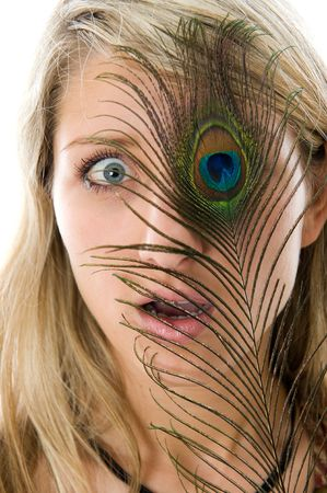 Close-up portrait of surprised girl with open mouth, peacock a feather closes eye  photo