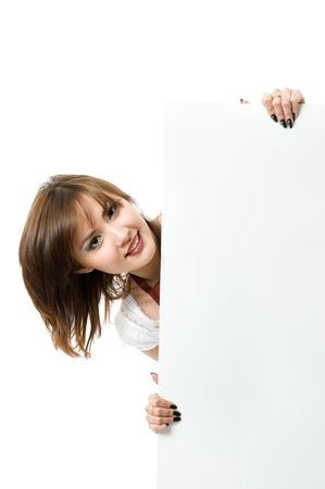 Close-up. Beautiful japanese woman holding a billboard. Isolated on white