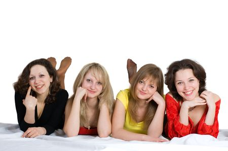 Happy birthday. Four sisters have fun Stock Photo - 3850616