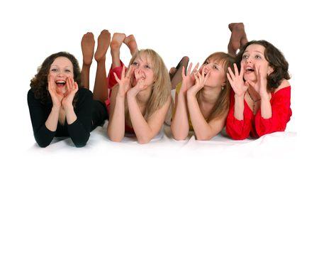 Girls shout: help... help! Happy birthday. Four girls friends have fun. Stock Photo - 3850785
