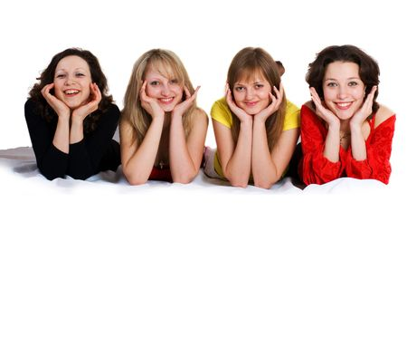 Four sisters have fun - isolated on white. Many lot of your text photo
