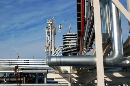 Oil-industry. Factory on oil refining at blue sky Stock Photo