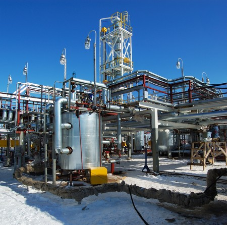 Industrial zone. The newest equipment of oil refining Stockfoto