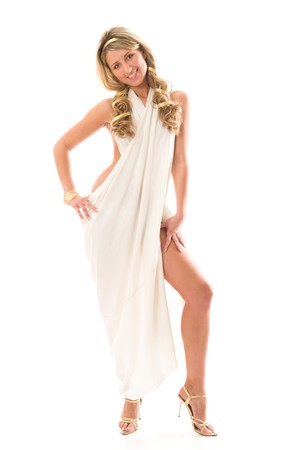Attractive charming girl dressed like a Greek Goddess. Isolated over white background photo