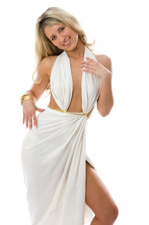 Attractive dancing girl dressed like a Greek Goddess. Isolated over white background photo