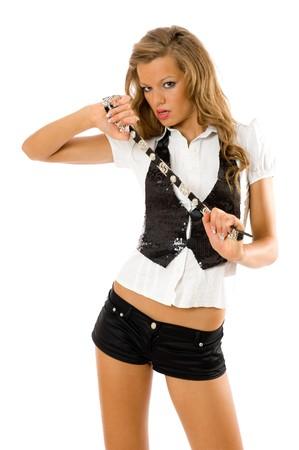 blonde hispanic: Portrait of beautiful fashion model - isolated on white Stock Photo