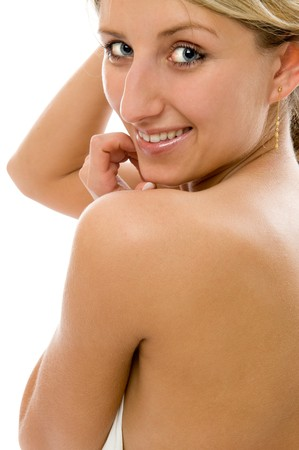 bared teeth: Close-up portrait of young woman with sexy shoulder Stock Photo