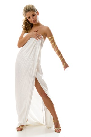 Greek Goddess. Portrait isolated over white background. Look all series of photos