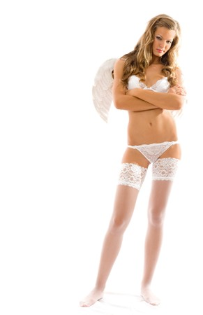 Afterlife. Sexy angel isolated on white background photo