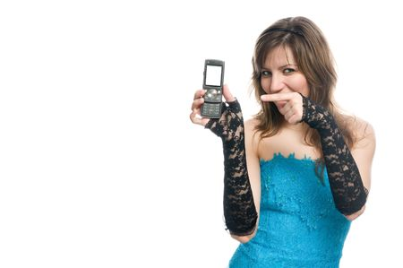 suggests: The girl suggests to call by phone. Many lot of copyspace Stock Photo