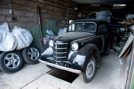 auto garage: Retro Soviet car in garage