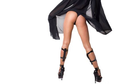 Closeup lady in stockings with long legs Stock Photo